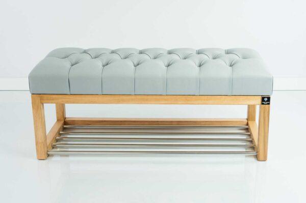 Sitzbank Chesterfield M-DEKO LPP-4 nach Maß aus Holz, mit Schuhregal und gestepptem Sitz aus grauem Kunstleder