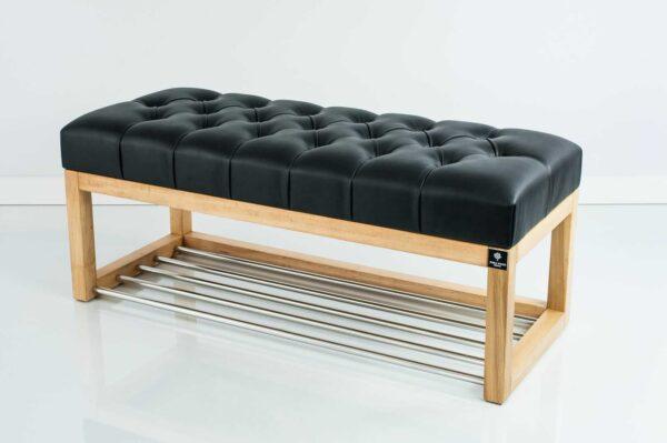 Sitzbank Chesterfield M-DEKO LPP-4 nach Maß aus Holz, mit Schuhregal und gestepptem Sitz aus schwarzem Kunstleder