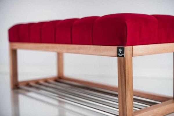Sitzbank Chesterfield M-DEKO LPP-4 nach Maß aus Holz, mit Schuhregal und gestepptem Sitz aus rotem Velours