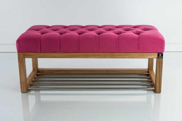 Sitzbank Chesterfield M-DEKO LPP-4 nach Maß aus Holz, mit Schuhregal und gestepptem Sitz aus pinkfarbigem Velours