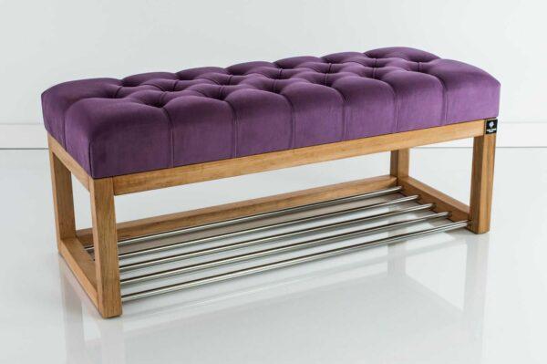 Sitzbank Chesterfield M-DEKO LPP-4 nach Maß aus Holz, mit Schuhregal und gestepptem Sitz aus lilafarbigem Velours