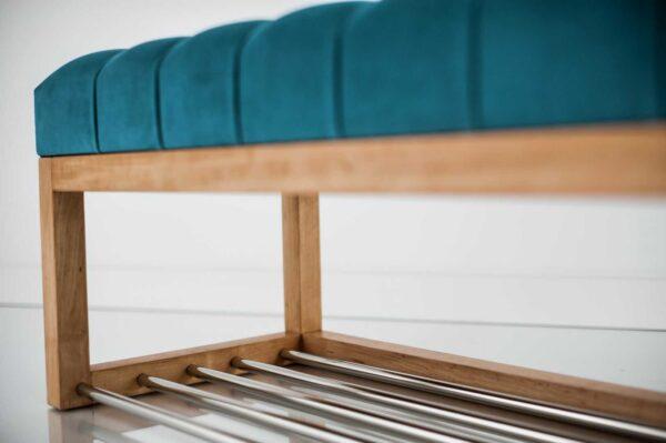 Sitzbank Chesterfield M-DEKO LPP-4 nach Maß aus Holz, mit Schuhregal und gestepptem Sitz aus türkisem Velours