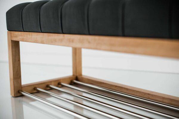 Sitzbank Chesterfield M-DEKO LPP-4 nach Maß aus Holz, mit Schuhregal und gestepptem Sitz aus grauem Velours