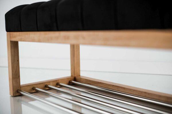 Sitzbank Chesterfield M-DEKO LPP-4 nach Maß aus Holz, mit Schuhregal und gestepptem Sitz aus schwarzem Velours
