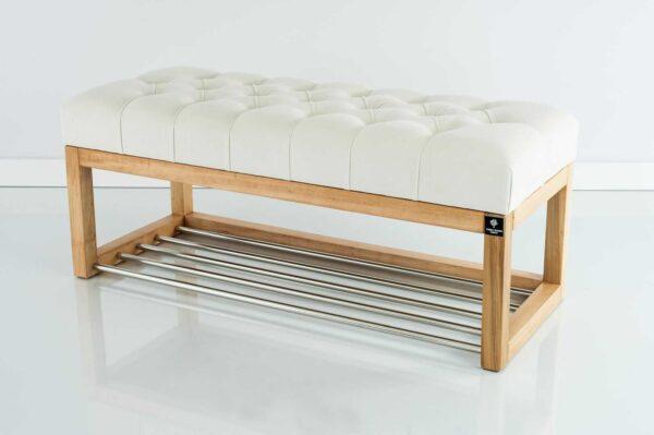 Sitzbank Chesterfield M-DEKO LPP-4 nach Maß aus Holz mit Schuhregal und gestepptem Sitz aus weißem Velours