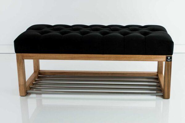 Sitzbank Chesterfield M-DEKO LPP-4 nach Maß aus Holz mit Schuhregal und gestepptem Sitz aus schwarzem Velours