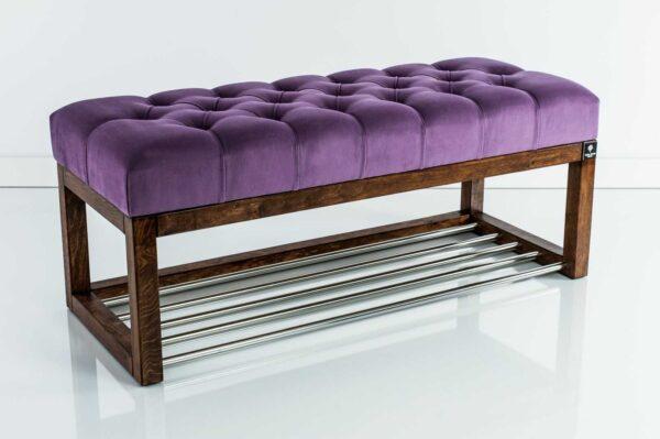 Sitzbank Chesterfield M-DEKO LPP-4 nach Maß aus Holz, mit Schuhregal und gestepptem Sitz aus lila Velours