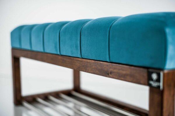 Sitzbank Chesterfield M-DEKO LPP-4 nach Maß aus Holz, mit Schuhregal und gestepptem Sitz aus türkisfarbigem Velours