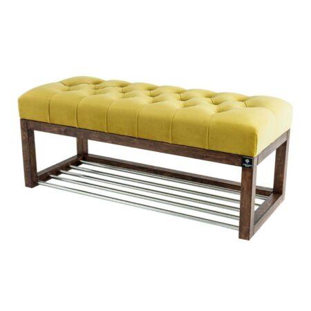 Sitzbank Chesterfield M-DEKO LPP-4 nach Maß aus Holz, mit Schuhregal und gestepptem Sitz aus gelbem Velours