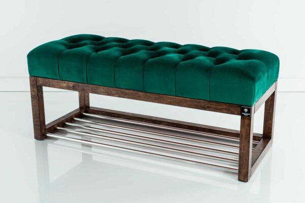 Sitzbank Chesterfield M-DEKO LPP-4 nach Maß aus Holz, mit Schuhregal und gestepptem Sitz aus grünem Velours