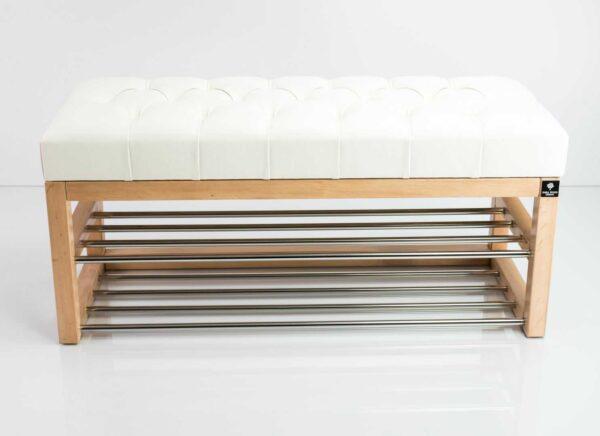 Schuhbank Chesterfield M-DEKO LPP-5 nach Maß aus Holz, mit zwei Schuhregalen und gestepptem Sitz aus weißem Kunstleder