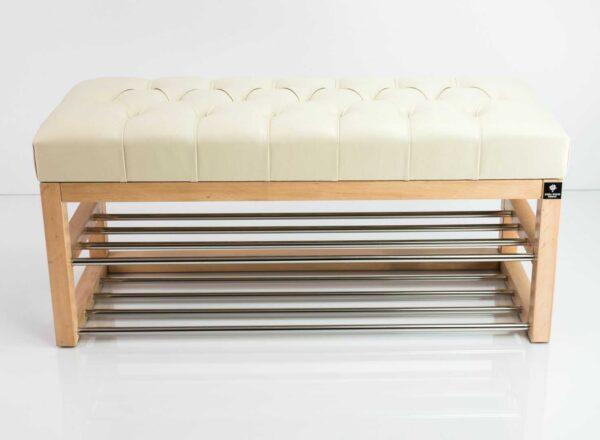 Schuhbank Chesterfield M-DEKO LPP-5 nach Maß aus Holz, mit zwei Schuhregalen und gestepptem Sitz aus ecru Kunstleder