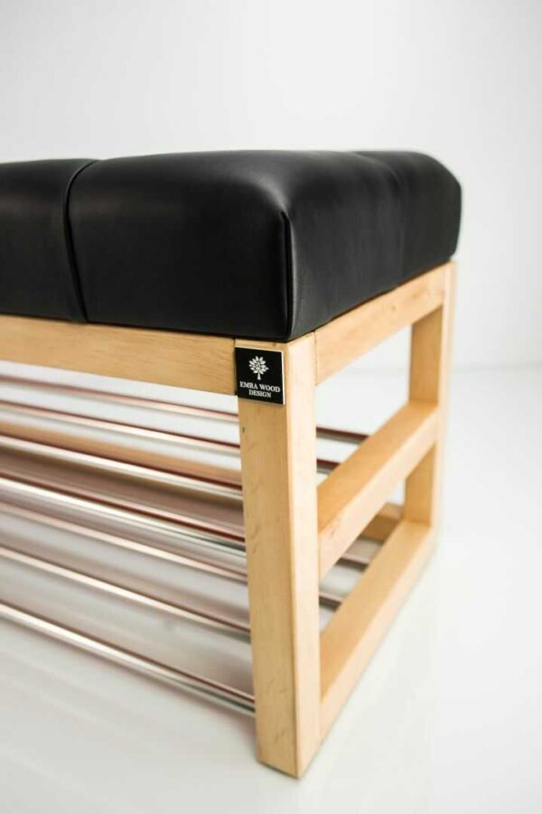 Schuhbank Chesterfield M-DEKO LPP-5 nach Maß aus Holz, mit Schuhregalen und gestepptem Sitz aus schwarzem Kunstleder