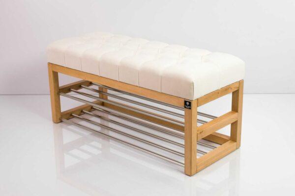 Schuhbank Chesterfield M-DEKO LPP-5 nach Maß aus Holz, mit zwei Schuhregalen und gestepptem Sitz aus altweißem Velours