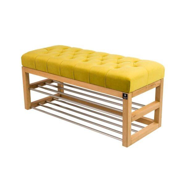 Schuhbank Chesterfield M-DEKO LPP-5 nach Maß aus Holz, mit zwei Schuhregalen und gestepptem Sitz aus gelbem Velours