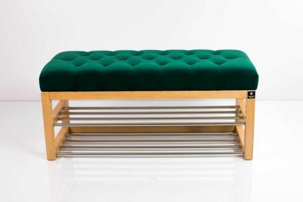 Schuhbank Chesterfield M-DEKO LPP-5 nach Maß aus Holz, mit zwei Schuhregalen und gestepptem Sitz aus grünem Velours