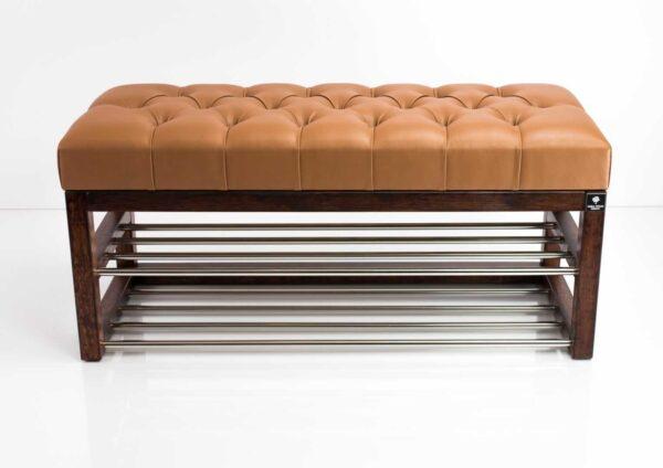 Schuhbank Chesterfield M-DEKO LPP-5 nach Maß aus Holz, mit Schuhregalen und gestepptem Sitz aus braunem Kunstleder