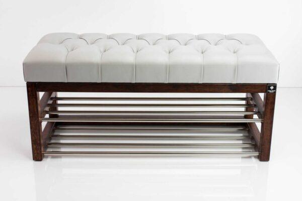 Schuhbank Chesterfield M-DEKO LPP-5 nach Maß aus Holz, mit Schuhregalen und gestepptem Sitz aus hellgrauem Kunstleder