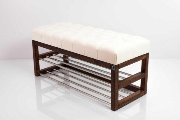 Schuhbank Chesterfield M-DEKO LPP-5 nach Maß aus Holz, mit Schuhregalen und gestepptem Sitz aus altweißem Velvet