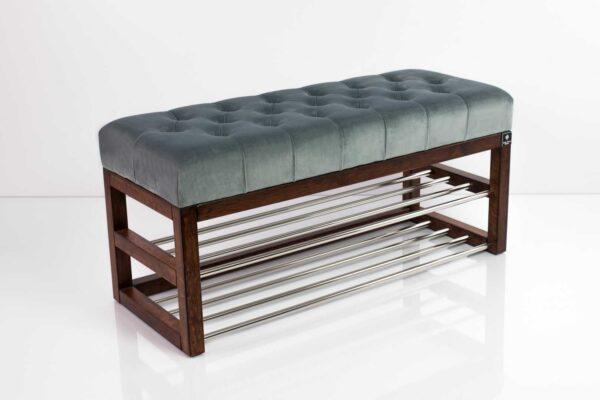Schuhbank Chesterfield M-DEKO LPP-5 nach Maß aus Holz, mit Schuhregalen und gestepptem Sitz aus dunkelgrauem Velvet
