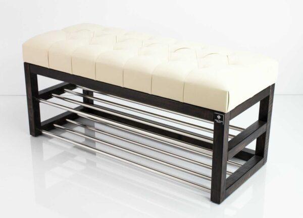 Schuhbank Chesterfield M-DEKO LPP-5 nach Maß aus Holz, mit Schuhregalen und gestepptem Sitz aus ecru Kunstleder