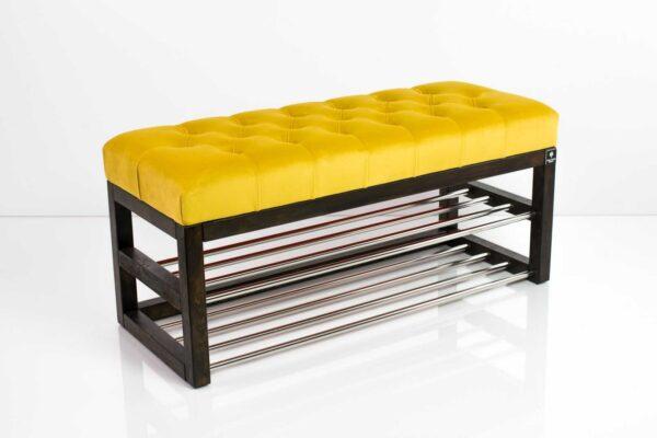 Schuhbank Chesterfield M-DEKO LPP-5 nach Maß aus Holz, mit Schuhregalen und gestepptem Sitz aus gelbem Velvet
