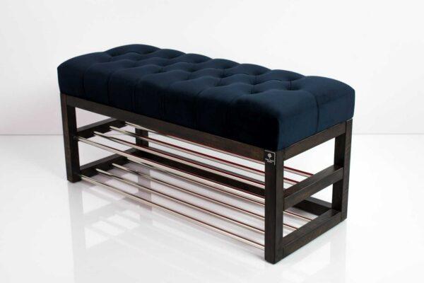 Schuhbank Chesterfield M-DEKO LPP-5 nach Maß aus Holz, mit Schuhregalen und gestepptem Sitz aus dunkelblauem Velvet