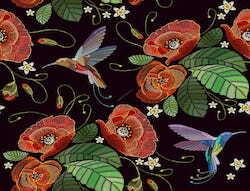 Blätter Mohnblumen Kolibri