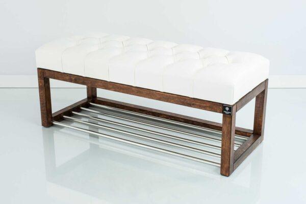 Sitzbank Chesterfield M-DEKO LPP-4 nach Maß aus Holz, mit Schuhregal und gestepptem Sitz aus weißem Kunstleder