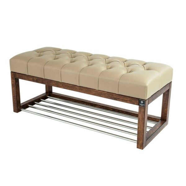 Sitzbank Chesterfield M-DEKO LPP-4 nach Maß aus Holz, mit Schuhregal und gestepptem Sitz aus beigem Kunstleder