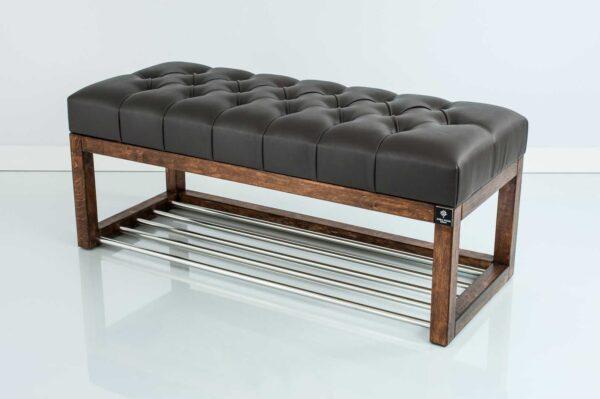 Sitzbank Chesterfield M-DEKO LPP-4 nach Maß aus Holz, mit Schuhregal und gestepptem Sitz aus dunkelbraunem Kunstleder
