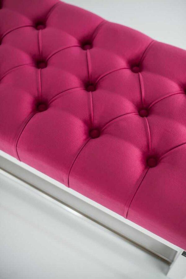 Sitzbank Chesterfield M-DEKO LPP-4 nach Maß aus Holz, mit Schuhregal und gestepptem Sitz aus rosa Velours