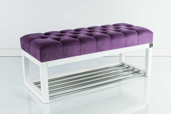 Sitzbank Chesterfield M-DEKO LPP-4 nach Maß aus weißem Holz, mit Schuhregal und gestepptem Sitz aus lila Velours