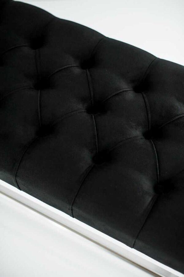 Sitzbank Chesterfield M-DEKO LPP-4 nach Maß aus weißem Holz, mit Schuhregal und gestepptem Sitz aus schwarzem Velours