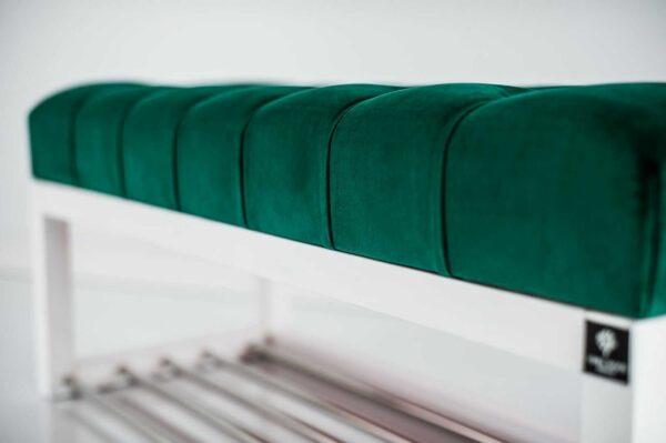 Sitzbank Chesterfield M-DEKO LPP-4 nach Maß aus Holz, mit Schuhregal und gestepptem Sitz aus flaschengrünem Velours