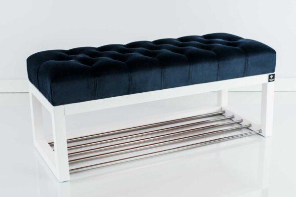 Sitzbank Chesterfield M-DEKO LPP-4 nach Maß aus Holz, mit Schuhregal und gestepptem Sitz aus dunkelblauem Velours