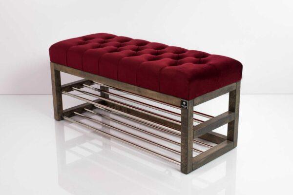Schuhbank Chesterfield M-DEKO LPP-5 nach Maß aus Holz, mit Schuhregalen und gestepptem Sitz aus bordeaux Velvet
