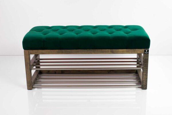 Schuhbank Chesterfield M-DEKO LPP-5 nach Maß aus Holz, mit Schuhregalen und gestepptem Sitz aus grünem Velvet
