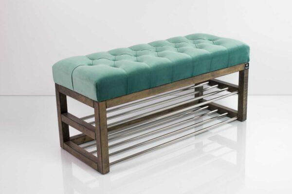 Schuhbank Chesterfield M-DEKO LPP-5 nach Maß aus Holz, mit Schuhregalen und gestepptem Sitz aus minzfarbigem Velvet