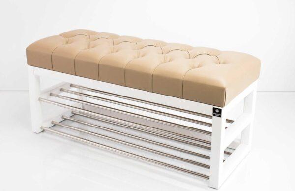 Schuhbank Chesterfield M-DEKO LPP-5 nach Maß aus Holz, mit Schuhregalen und gestepptem Sitz aus beigem Kunstleder