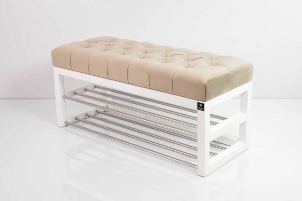 Schuhbank Chesterfield M-DEKO LPP-5 nach Maß aus Holz, mit Schuhregalen und gestepptem Sitz aus weißem Velours