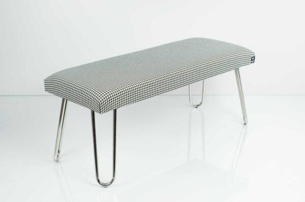 Gepolsterte Sitzbank M-DEKO LGM-12 nach Maß, Sitzpolster aus Velvet Hahnentrittmuster und Metallbeine Chrom