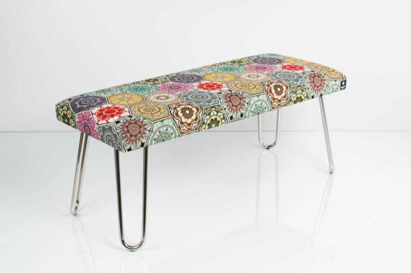 Gepolsterte Sitzbank M-DEKO LGM-12 nach Maß, Sitz aus Velvet Muster Hexagony Mandala und Metallbeine Chrom