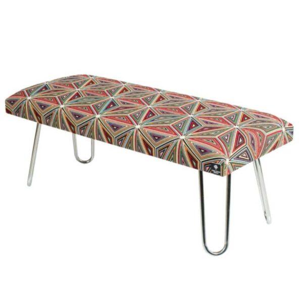 Gepolsterte Sitzbank M-DEKO LGM-12 nach Maß, Sitz aus Velvet Muster Malawi und Metallbeine Chrom