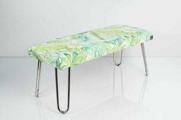 Gepolsterte Sitzbank M-DEKO LGM-12 nach Maß, Sitz aus Velvet Muster Monstera Blätter und Metallbeine Chrom