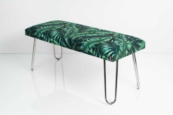 Gepolsterte Sitzbank M-DEKO LGM-12 nach Maß, Sitz aus Velvet Muster Tropische Blätter und Metallbeine Chrom