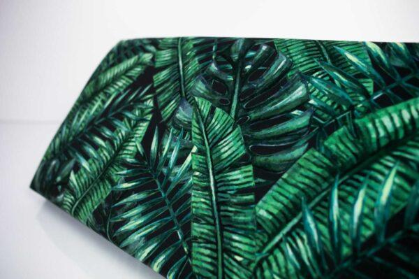 Gepolsterte Sitzbank M-DEKO LGM-12 nach Maß, Sitz aus Velvet Muster Tropische Blätter und Metallbeine