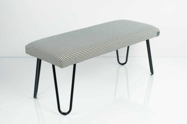 Gepolsterte Sitzbank M-DEKO LGM-12 nach Maß, Sitzpolster aus Velvet Hahnentrittmuster und Metallbeine Schwarz