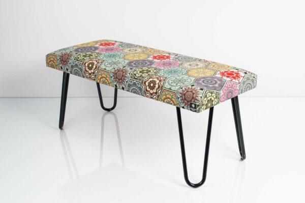 Gepolsterte Sitzbank M-DEKO LGM-12 nach Maß, Sitz aus Velvet Muster Hexagony Mandala und Metallbeine Schwarz