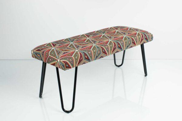 Gepolsterte Sitzbank M-DEKO LGM-12 nach Maß, Sitz aus Velvet Muster Malawi und Metallbeine Schwarz